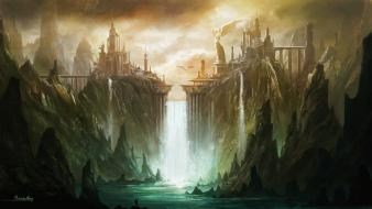 Landscapes fantasy art artwork waterfalls cities wallpaper