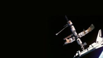 Outer space station shuttle wallpaper