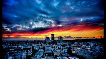 Sunset clouds cityscapes multicolor town view wallpaper