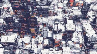 Abstract cityscapes buildings digital art artwork atelier olschinsky wallpaper