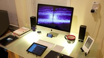 Apple inc. imac logitech iphone ipad desk genki wallpaper