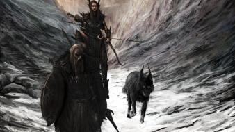 Archers fantasy art warriors wolves shields wallpaper