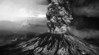 Black and white volcanoes smoke Wallpaper