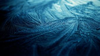Blue crystals frost macro wallpaper