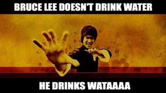 Bruce lee water funny drinks wallpaper