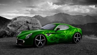Cars alfa romeo 8c selective coloring Wallpaper