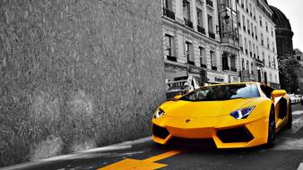 Cars lamborghini selective coloring sports yellow wallpaper
