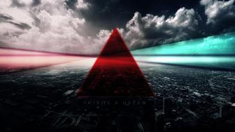Clouds red dreams lines cyan cities triangles wallpaper
