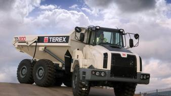 Clouds trucks vehicles terex wallpaper