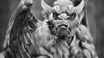 Devil monochrome gargoyles wallpaper