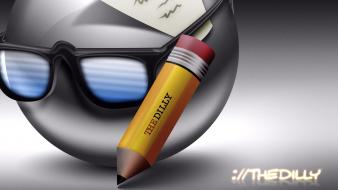 Glasses funny smiley pencils writer wallpaper