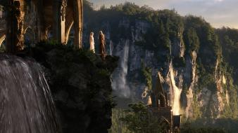 Hobbit middle-earth waterfalls galadriel rivendell arches cliff wallpaper