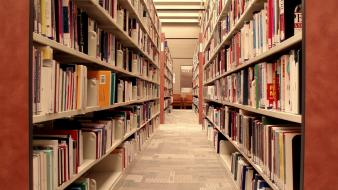 Library books shelves wallpaper