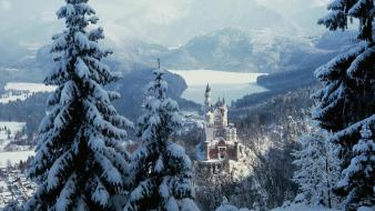 Mountains landscapes nature snow neuschwanstein castle wallpaper