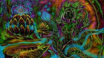 Octopuses trippy cyber artwork wallpaper