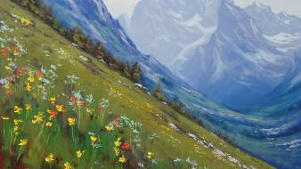 Paintings mountains landscapes flowers wallpaper