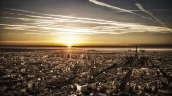 Paris sunset landscapes orange france apocalyptic cities upscaled wallpaper