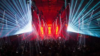 Party stage q-dance q-base 2012 lasers wallpaper