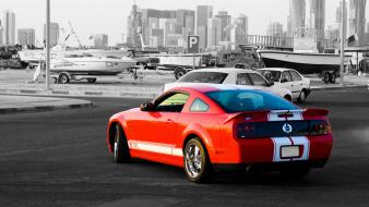 Red cars ford selective coloring gt 77 widescreen wallpaper