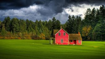 Red forests canada british columbia house farm sky wallpaper