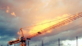 Skyscapes crane constructions wallpaper