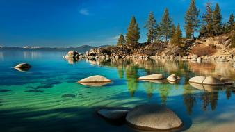Trees hills rocks lakes turquoise snowy peaks wallpaper