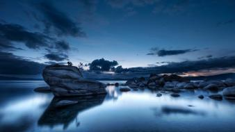 Water clouds landscapes nature rocks pebbles wallpaper
