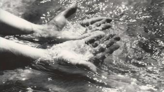 Water hands grayscale walter chappell wallpaper