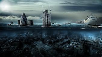 Water ocean clouds cityscapes london underwater photomanipulation split-view wallpaper