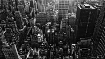 Abstract black and white cityscapes skyscrapers highlights wallpaper