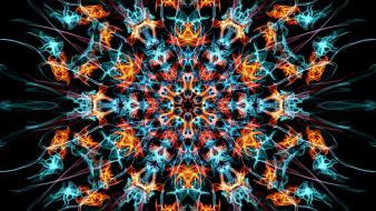 Abstract fire smoke patterns psychedelic symmetry wallpaper