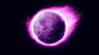 Abstract purple glowing spheres dark background Wallpaper