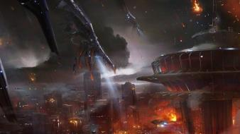 Artwork mass effect 3 apocalyptic cities reapers wallpaper