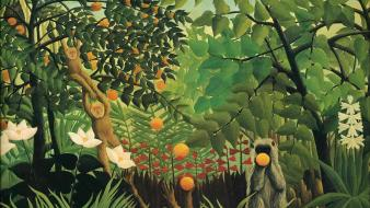 Artwork monkeys french traditional art henri rousseau wallpaper