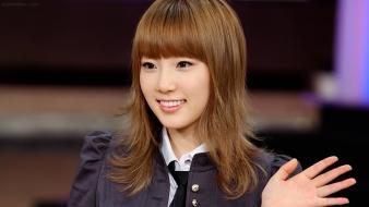 Asians korean smiling singers kim taeyeon bangs wallpaper