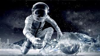 Astronauts tools science fiction artwork reflections equipment wallpaper