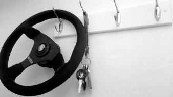 Black and white cars steering wheel keys Wallpaper