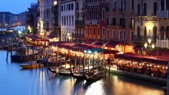 Boats venice italy cafe house evening canal wallpaper