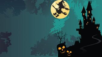 Castles halloween digital art witches vector background wallpaper