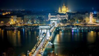 Cityscapes bridges city lights budapest wallpaper