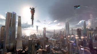 Cityscapes killzone spaceships playstation 4 shadow fall wallpaper