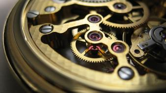 Close-up clocks gold gears clockwork watch wallpaper