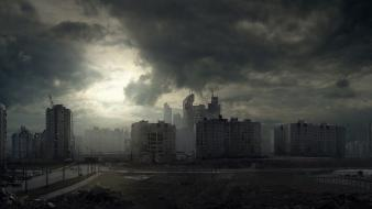 Clouds buildings apocalypse science fiction artwork skyscapes wallpaper