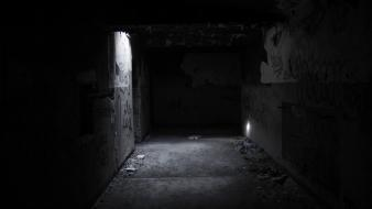 Dark scary monochrome tunnel Wallpaper