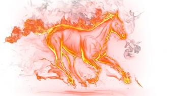 Flames fire horses white background wallpaper