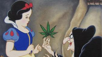 Funny marijuana snow white witches fairy tale wallpaper