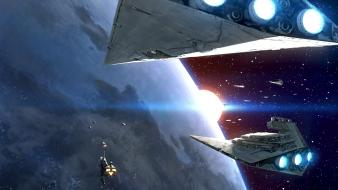 Futuristic planets spaceships science fiction artwork destroyers wallpaper