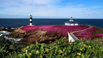 Landscapes nature europe lighthouses spain galicia pancha island Wallpaper