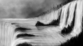 Landscapes nature trees forests grayscale digital art waterfalls Wallpaper