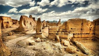 Landscapes ruins site rock formations wallpaper